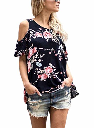 3bfa5aa673bcb Asvivid Women s Summer Cut Out Shoulder Flower Print Ruffled Sleeves Loose  Blouse and Tops Large Black