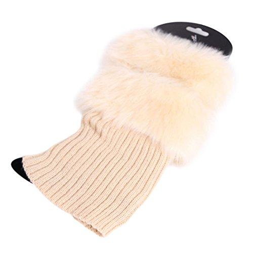 da2816946 ... Womens Winter Warm Crochet Knit Fur Trim Leg Warmers Cuffs Toppers Boot  Socks Beige. Material  cotton