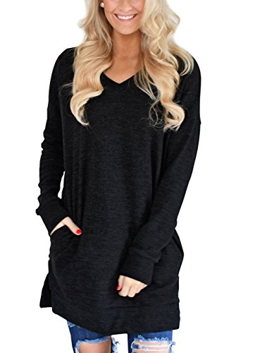 51463e801d5 XUERRY Womens Casual V-Neck Long Sleeves Pocket Solid Color Sweatshirt  Tunics Blouse Tops
