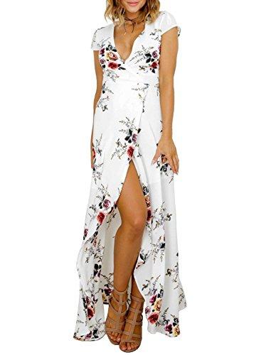 721579828d15 High waist side slit vintage floral print off shoulder split dress, great  for beach, party, causal etc. Package included:1X Long DressNot included  belt.