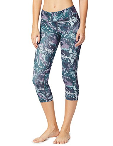 e0f5d23ffb64c Baleaf Women's Tummy Control Workout Printed Yoga Capri Pants Hidden Pocket
