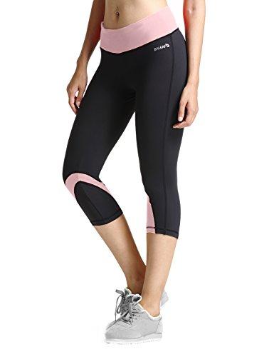 28423b4d0d80f Baleaf Women's Yoga Running Workout Capri Legging Hidden Pocket Pink Size XS