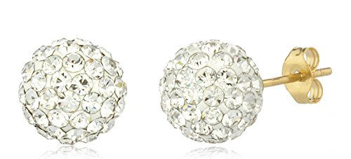 4bed09fba Available in Different Colors – 14k Yellow Gold 8mm Preciosa Crystals Stud  Earrings with 14k Pushbacks